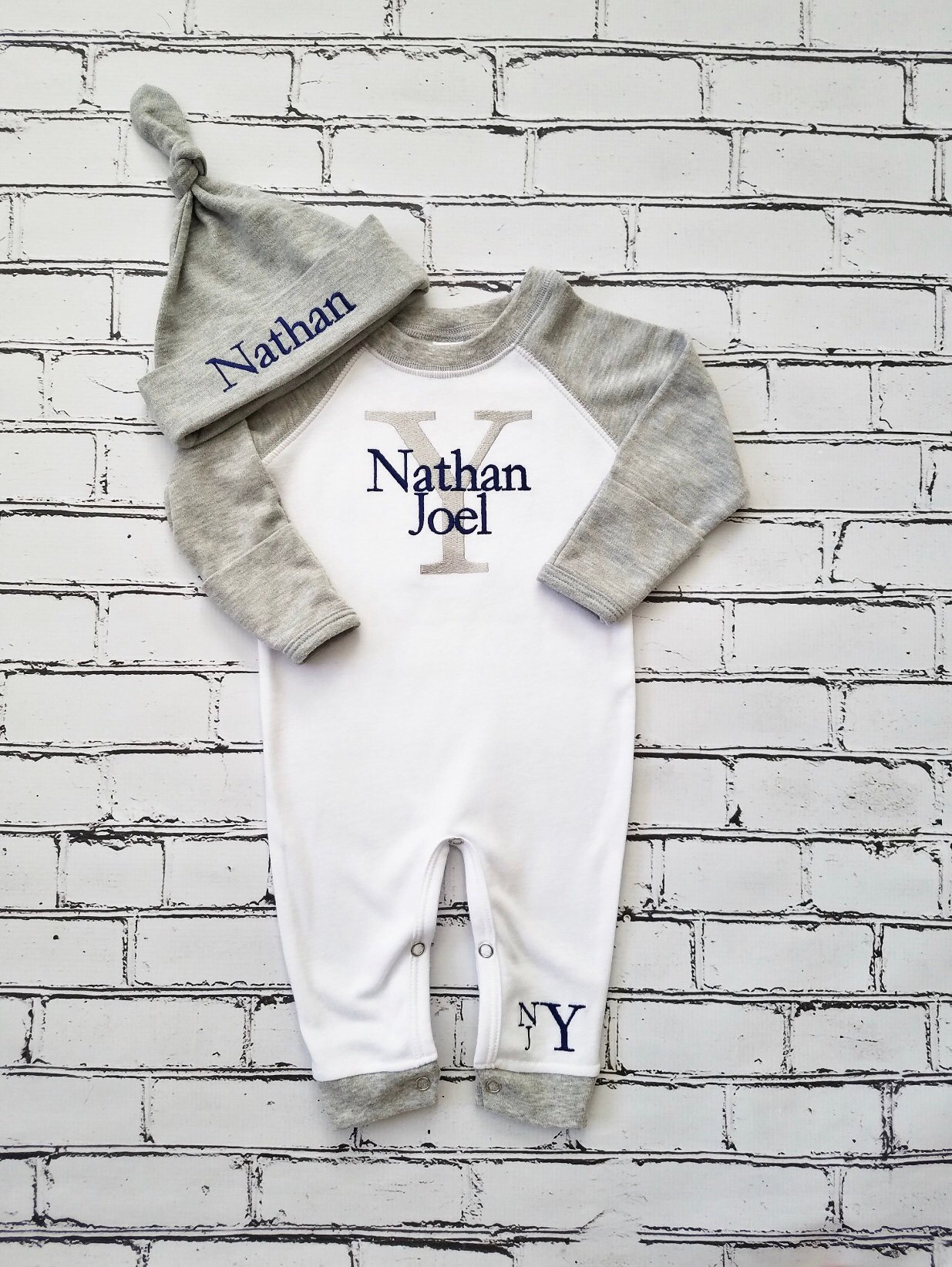 Monogrammed Boys Baby Gown and Hat Set Football Newborn Take Home Outfit Gift