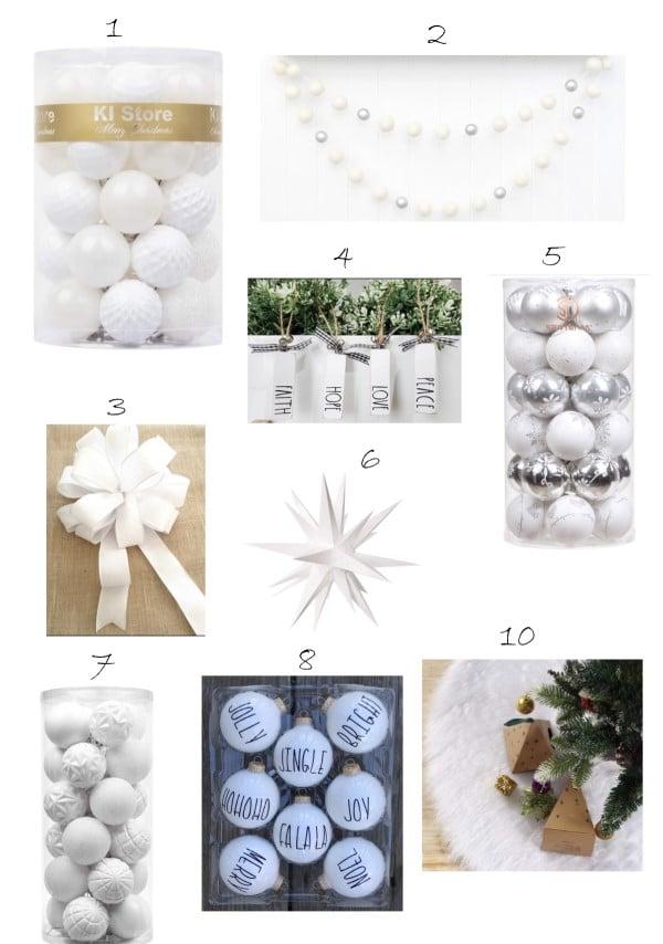 beyaz yılbaşı ağacı süsleri